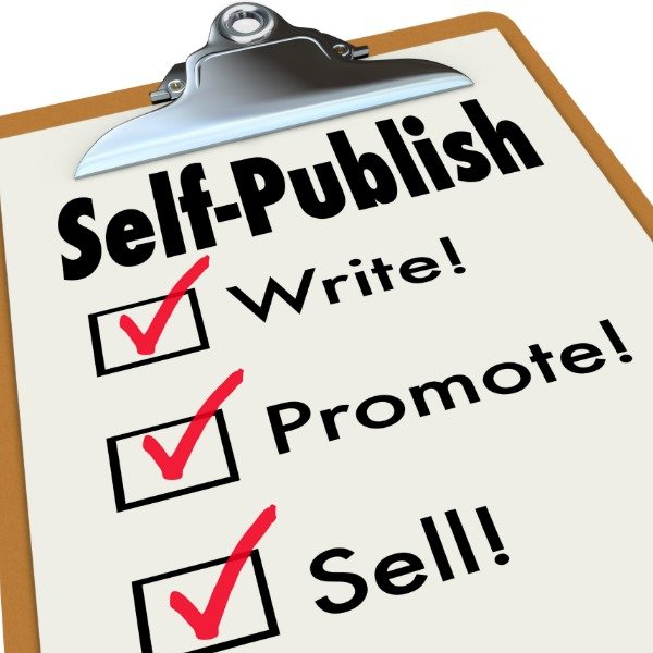 Self-Publish words on a clipboard with check boxes and marks and words write, promote and sell your novel, non-fiction or other written material